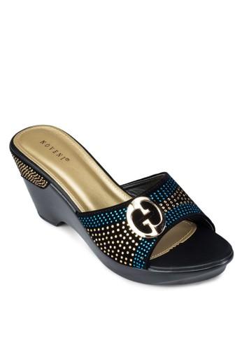 彩晶牌飾粗跟涼鞋zalora是哪裡的牌子, 女鞋, 楔形鞋
