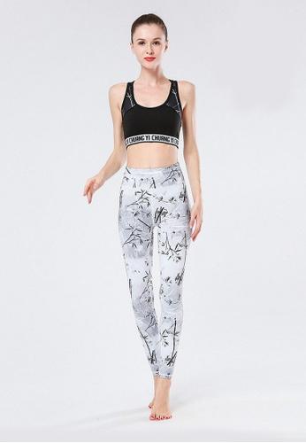 B-Code white ZYG3021-Lady Quick Drying Running Fitness Yoga Sports Leggings -White 1DD56AA5F48F7CGS_1