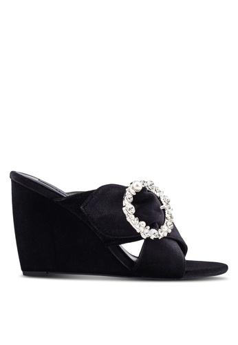 ZALORA 黑色 Embellished Wedge 拖鞋 73260SH4416D60GS_1
