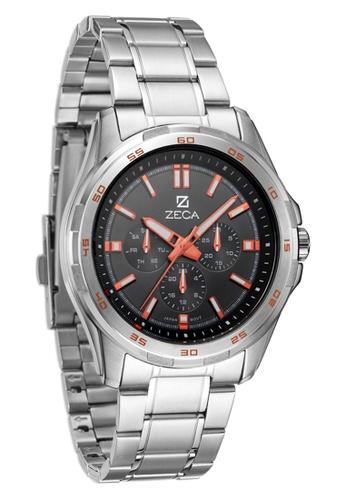 ZECA orange and silver Zeca Watches Men Fashion Stainless Steel Analog - 232M Silver Black ZE260AC11SJWSG_1