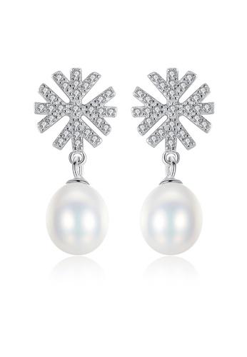 SUNRAIS silver Premium colored stone silver snowflake earrings E6C2BAC89431B4GS_1