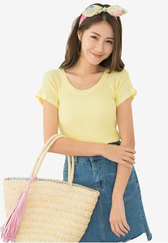 Tokichoi yellow Ribbed Knit Top With Raglan Sleeves A87F2AA81B6139GS_1