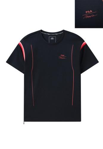 FILA navy FILA x 3.1 Phillip Lim Logo Zipper Side Split Cotton T-shirt 28115AA85A5756GS_1