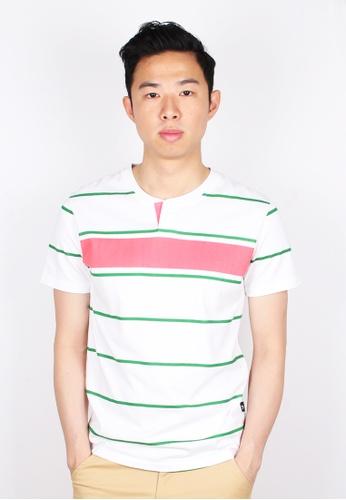 Moley green Striped Printing Henley T-Shirt 576B3AAFE75DEBGS_1