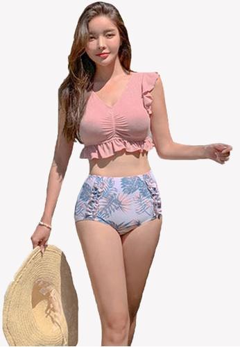Halo pink (2pcs)  Ruffle Bikini Swimsuit ED687USC669247GS_1