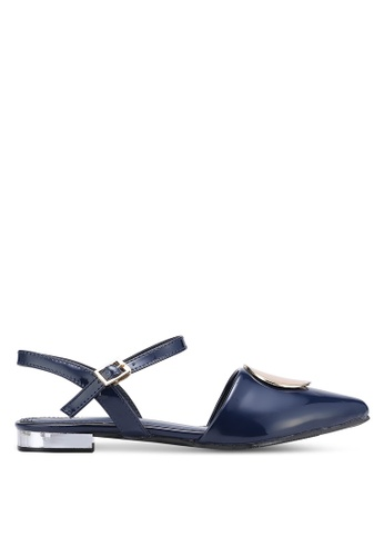 DMK blue and navy Buckled Pointed Flats DM860SH0RG20MY_1
