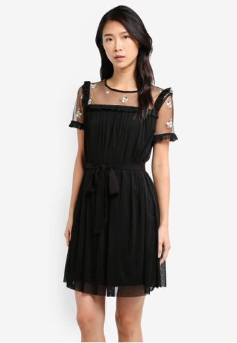 ZALORA black Ruffled Sheer Dress 31928AA3D91D85GS_1