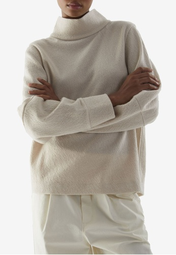 COS beige Relaxed Turtleneck Wool Top 709ADAAB89AD65GS_1