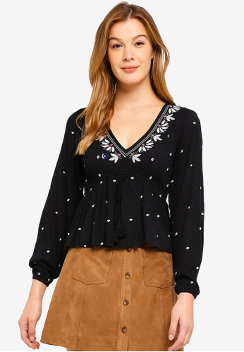 Abercrombie & Fitch black Embroidered Peasant Blouse 04E50AAC0F188BGS_1