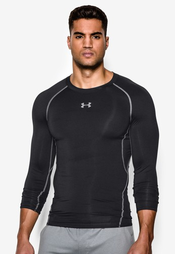 Under Armour black and grey Men's UA HeatGear® Armour Long Sleeve Compression Shirt UN337AA25SLEMY_1