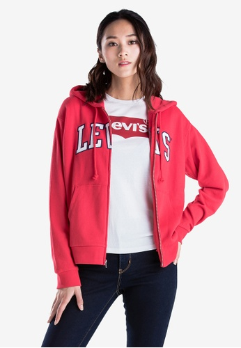 da4a49c1bec6c Shop Levi's Women's Relaxed Graphic Zip Hoodie Online on ZALORA Philippines