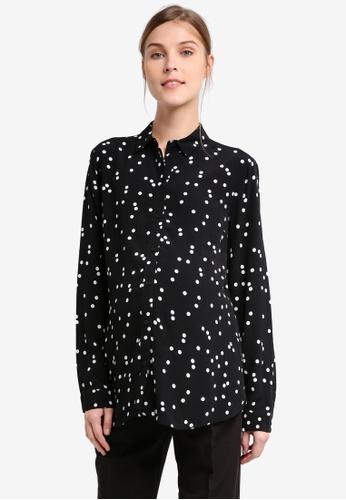 TOPSHOP black Maternity Spot Print Shirt TO412AA0T0W6MY_1