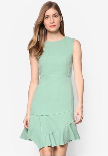Agnes 層次起褶裙擺無袖連身裙, 服飾,zalora 衣服尺寸 洋裝
