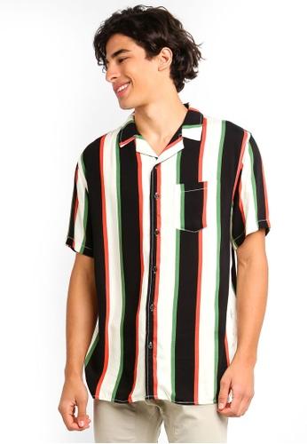 Cotton On 黑色 and 綠色 條紋襯衫 F5917AAC267492GS_1