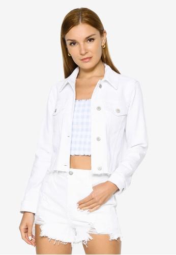 Hollister white Crop Denim Jacket E6FEAAA9932961GS_1