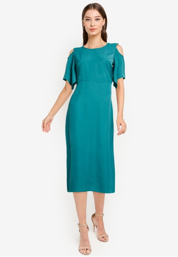 ZALORA WORK green Cold Shoulder Dress 82DE1AA109581BGS_1