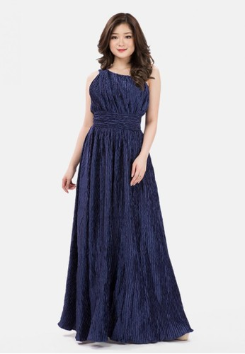 The Pink Label navy Pleats One Shoulder Long Dress in Navy 222F8AA9C4DF60GS_1