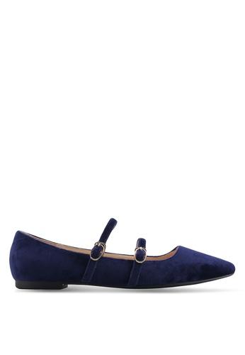 ZALORA 海軍藍色 雙帶尖頭平底鞋 4D50BSHBE61EB3GS_1