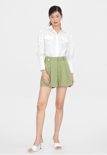 Pomelo green Double Seashell Button Pleated Shorts - Green 4C42CAA9161ADDGS_1
