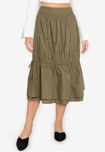 ZALORA BASICS green Drawstring Midi Skirt AC008AA3670275GS_1
