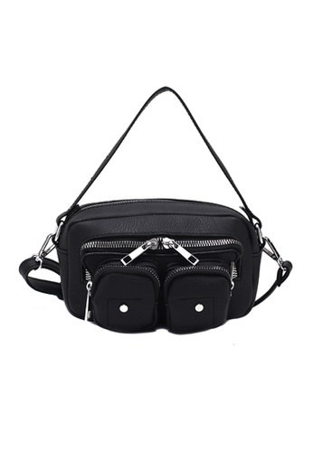 The Catalyst Store black Black Two Front Zipper Pouch Fanny Pack Sling Leather Bag D7369AC8565961GS_1