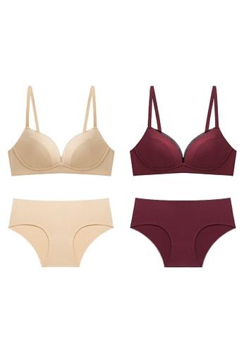 K.Excellence 紅色 2 Set Premium Comfort Beige&red Lingerie (Bra and Underwear) B9AE1US3133EB8GS_1