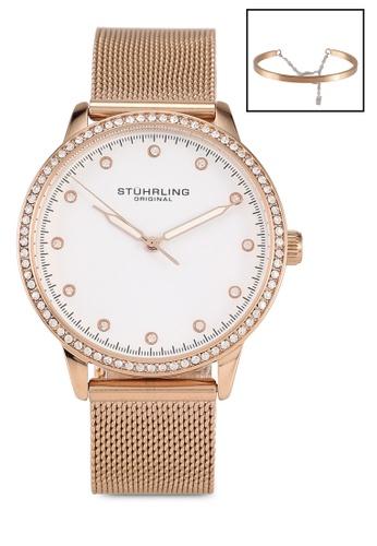 Stuhrling Original white and pink and gold Dorset 3904 Quartz Watch & Bracelet Set 7EF7CAC5D3E7BCGS_1