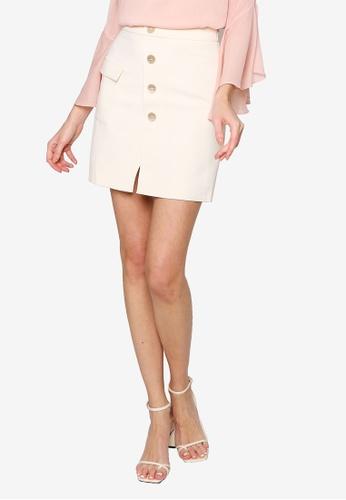 Hopeshow beige A-Line Front Slit Button Fly Mini Skirt 66B1BAA29B650AGS_1