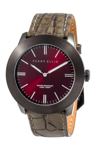 Perry Ellis brown Perry Ellis Slim Line Men 46mm Quartz Watch 03011-01 7BF72ACA0C2647GS_1