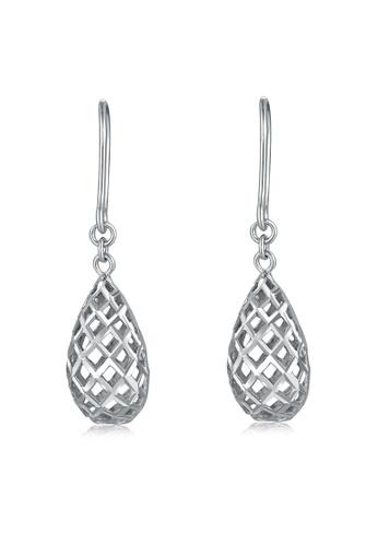 MaBelle silver 14K White Gold Diamond-Cut Puff Filigree Pear Shape Teardrop Dangle Earrings B58D6AC2F250DDGS_1