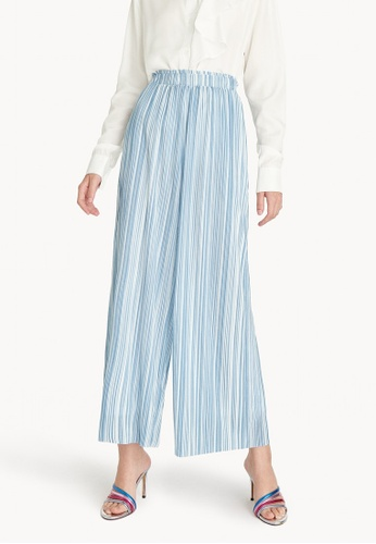 Pomelo blue Striped Wide Leg Pleat Pants - Blue EAF90AAA805077GS_1