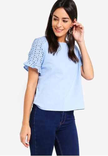 ZALORA blue Eyelet Boxy Top A6396AA1CD54A4GS_1