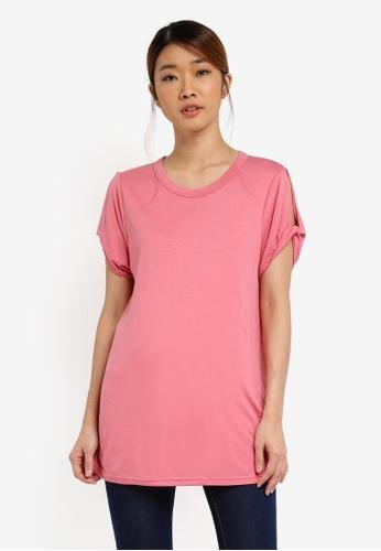 UniqTee pink Knot Detail Cap Sleeve Top UN097AA0SHDBMY_1