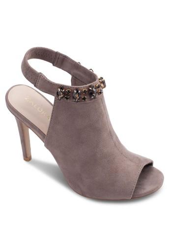 zalora 心得 ptt閃飾繞踝露趾高跟涼鞋, 女鞋, 鞋