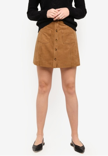 Abercrombie & Fitch brown Suede Mini Skirt B7518AA573D204GS_1