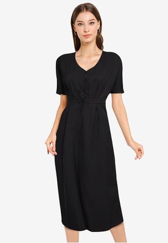 ZALORA WORK black Gathered Culotte Jumpsuit 0FDC1AA55B920DGS_1