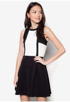 Colour Binding Fit And Flare Dress