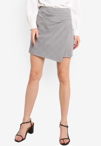 ZALORA WORK grey and multi Pleated Detail Skirt 091BEAAC0A9A59GS_1