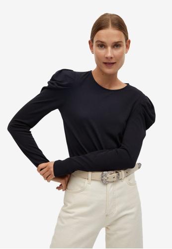 Mango black Puffed Shoulder T-Shirt 145BBAADE3F1C2GS_1