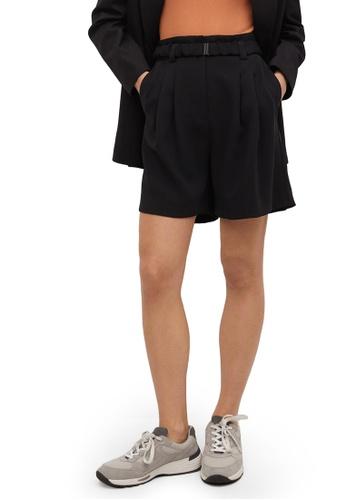 Mango black Flowy Pleated Shorts 3C32EAA552AA05GS_1