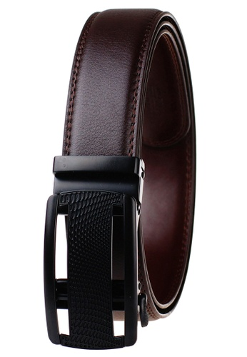 FANYU brown Leather Dress Belt With Automatic Buckle belt 2EE8CACB1C0BF5GS_1