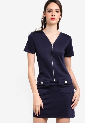 拉鍊半開襟短袖直筒連身裙, 服飾esprit 請人, 服飾