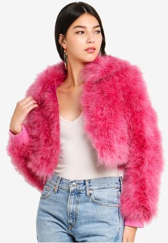 TOPSHOP pink Crop Harper Marabou 0FD48AABDD29DDGS_1