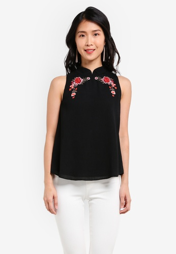 ZALORA black Embroidered A Line Top DAA1BAACBBE863GS_1