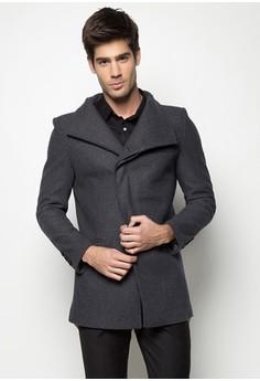 Slim Fit Asymmetrical Wool Coat