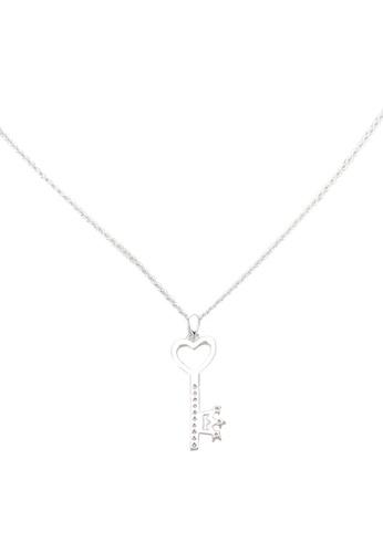 Dandelion silver Diamante Love Key Collar Bone Necklace 0580CACAA0BEF5GS_1