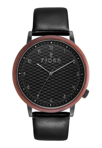 Fjord black Fjord Men's Genuine Leather Watch - FJ-3037-02 F7AFAACE4EEA00GS_1
