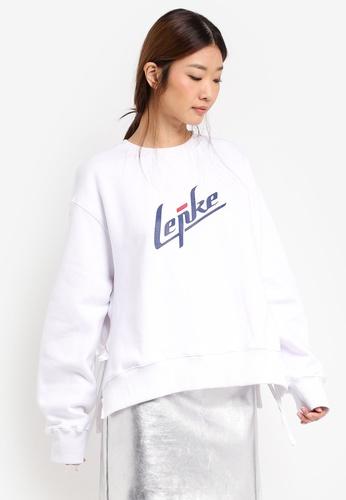 Stylenanda white Lettering Print Side Tie Sweatshirt ST343AA0SXJCMY_1