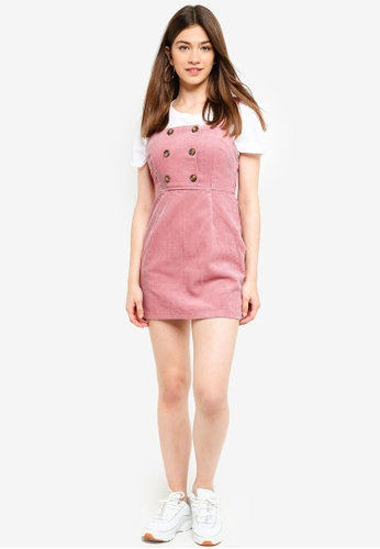 770c7ddf74 Buy Miss Selfridge Petite Pink Chunky Cord Pinafore Dress Online ...
