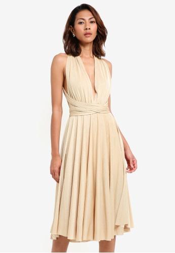 Goddiva gold Glitter Multi Tie Midi Dress 826A0AAEA7F044GS_1